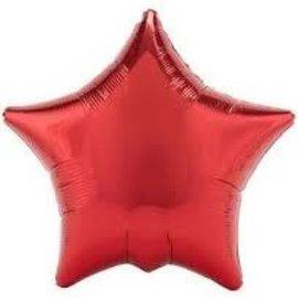 """Metallic Red Star Balloon, 19"""""""