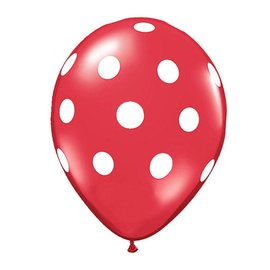 Qualatex Red w/ White Polka dots  - single latex helium filled Pickup or Local delivery only includes Hi-float
