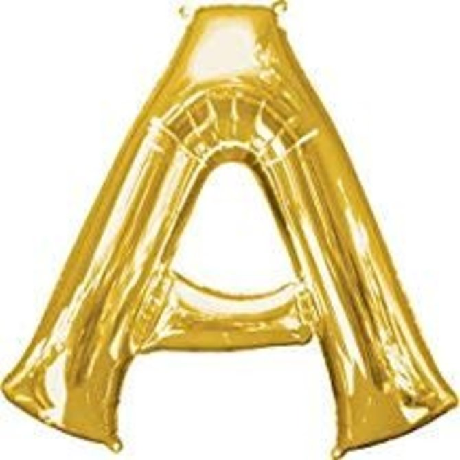 """34"""" Letter A Gold Balloon"""