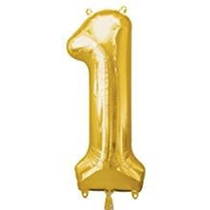 34'' 1 Gold Number Shape Balloon
