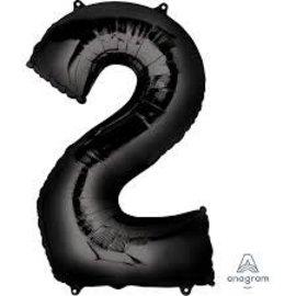 34'' 2 Black Number Shape Balloon