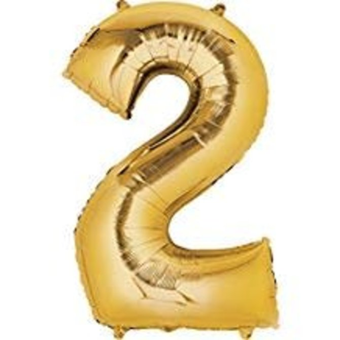 34'' 2 Gold Number Shape Balloon