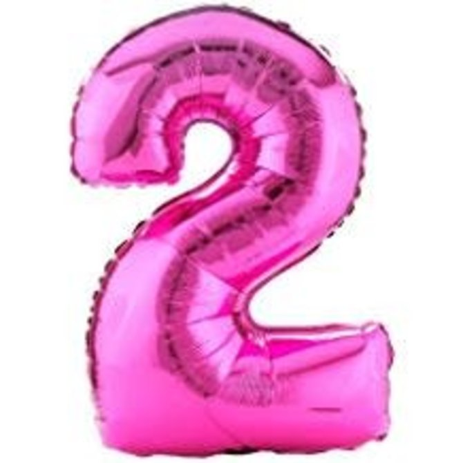 34'' 2 Pink Number Shape Balloon