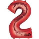 34'' 2 Red Number Shape Balloon