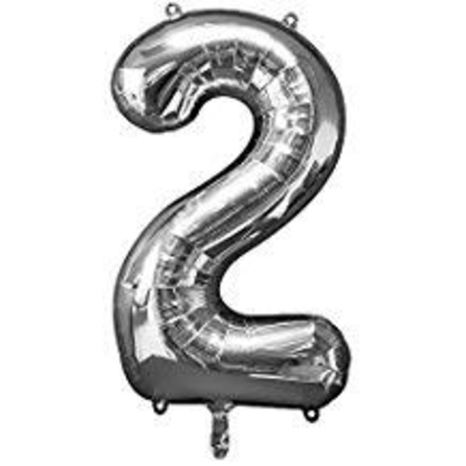 34'' 2 Silver Number Shape Balloon