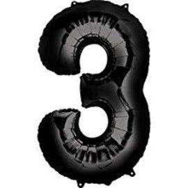 34'' 3 Black Number Shape Balloon