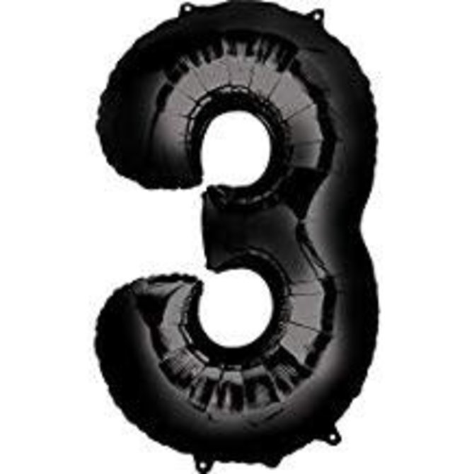 34'' 3 Black Number Shape Balloon