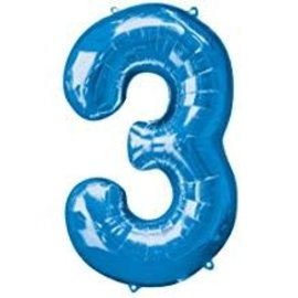 34'' 3 Blue Number Shape Balloon