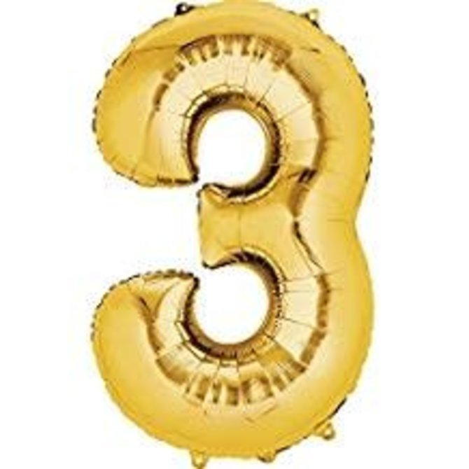 34'' 3 Gold Number Shape Balloon