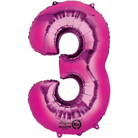 34'' 3 Pink Number Shape Balloon