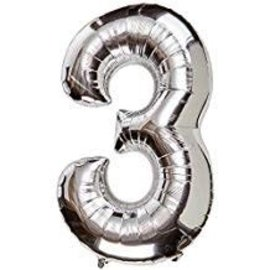 34'' 3 Silver Number Shape Balloon