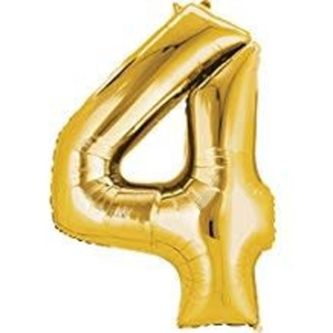 34'' 4 Gold Number Shape Balloon