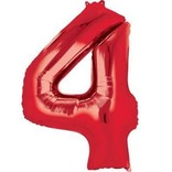 34'' 4 Red Number Shape Balloon