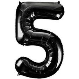 34'' 5 Black Number Shape Balloon