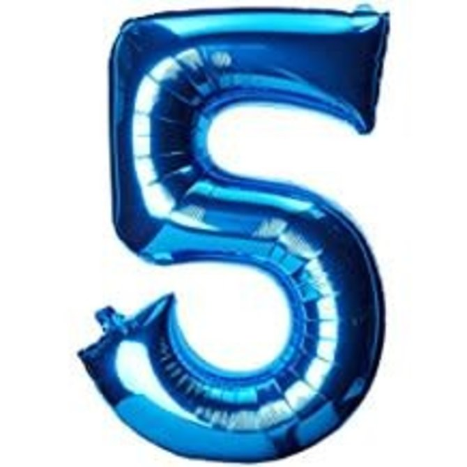 34'' 5 Blue Number Shape Balloon