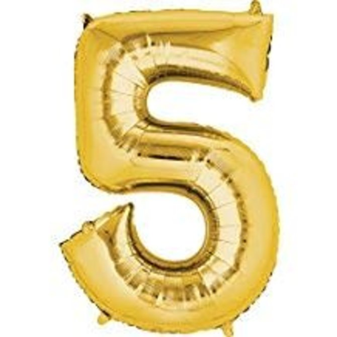 34'' 5 Gold Number Shape Balloon