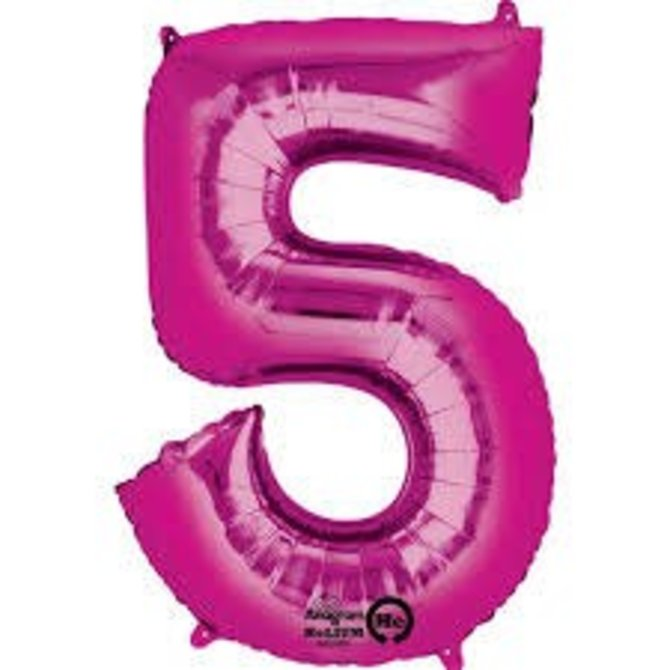 34'' 5 Pink Number Shape Balloon