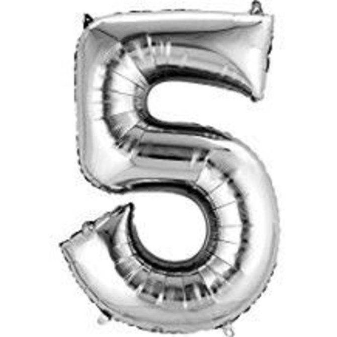 34'' 5 Silver Number Shape Balloon