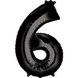34'' 6 Black Number Shape Balloon
