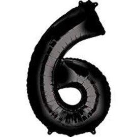 34'' 6 Black Number Shape Balloon