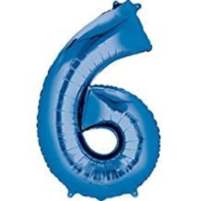 34'' 6 Blue Number Shape Balloon