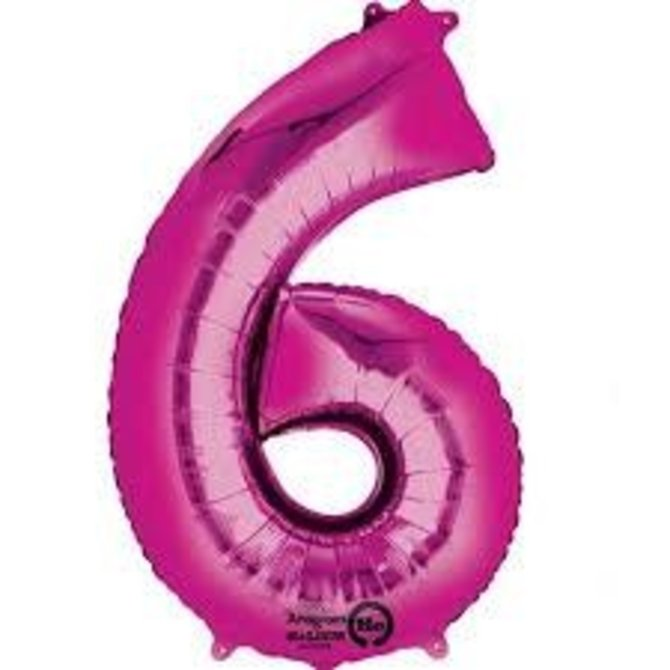 34'' 6 Pink Number Shape Balloon