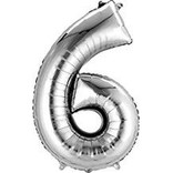 34'' 6 Silver Number Shape Balloon