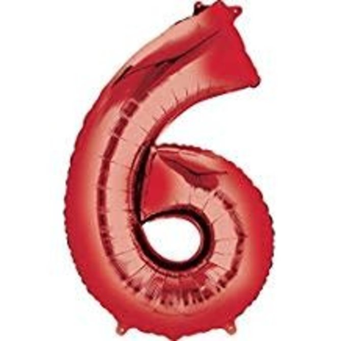 34'' 6 Red Number Shape Balloon
