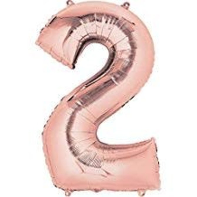 """34"""" 2 Rose Gold Number Shape Balloon"""