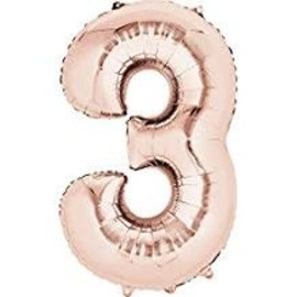 "34"" 3 Rose Gold Number Shape Balloon"