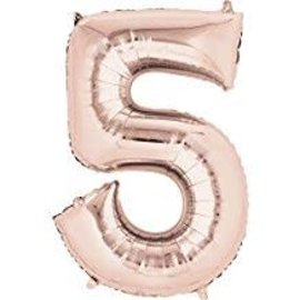"""34"""" 5 Rose Gold Number Shape Balloon"""