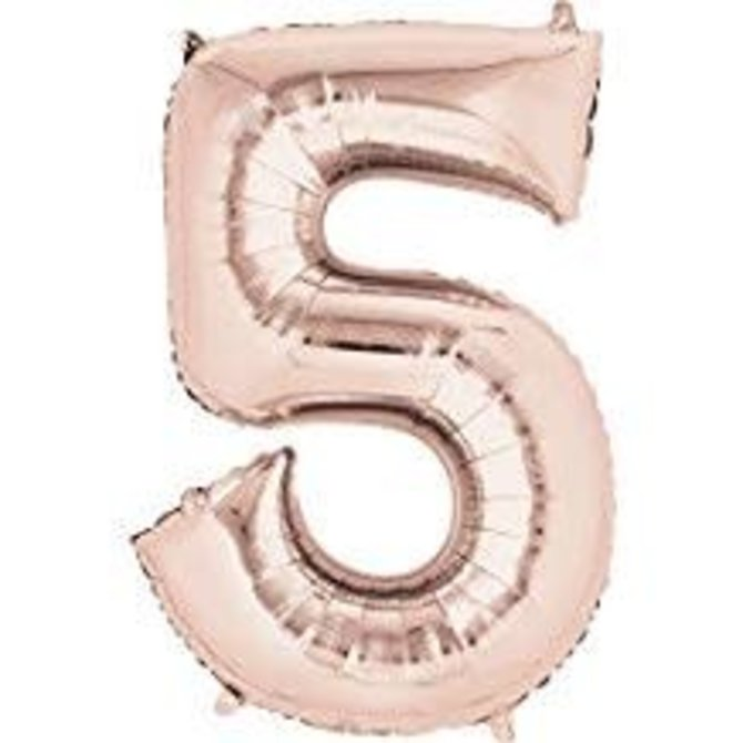 "34"" 5 Rose Gold Number Shape Balloon"