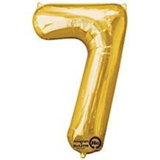 34'' 7 Gold Number Shape Balloon