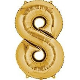 34'' 8 Gold Number Shape Balloon