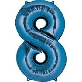 34'' 8 Blue Number Shape Balloon