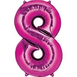 34'' 8 Pink Number Shape Balloon