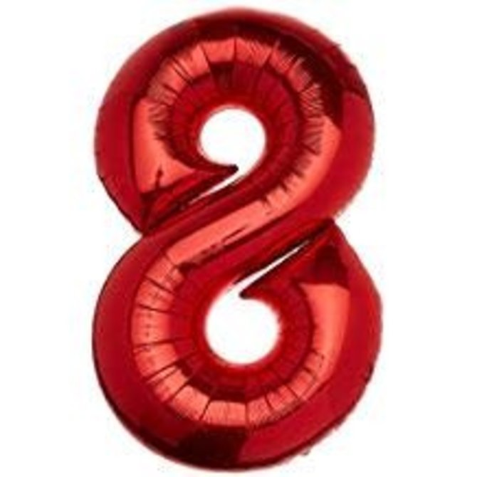34'' 8 Red Number Shape Balloon