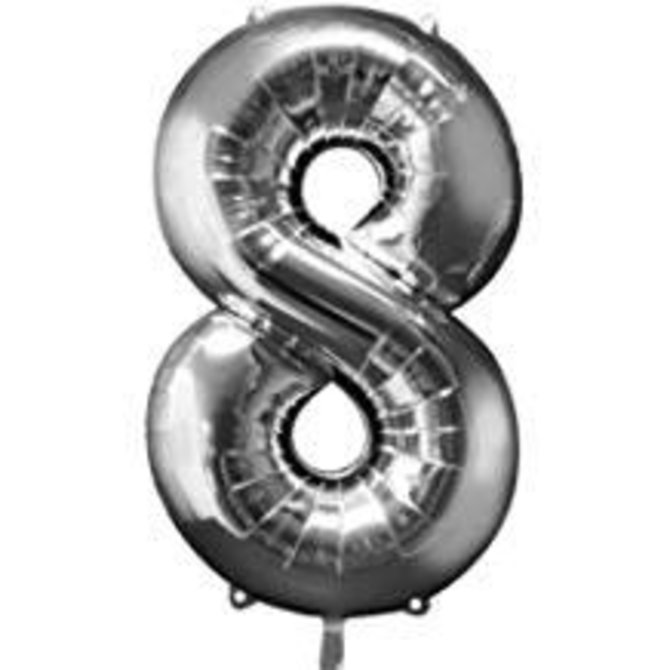 34'' 8 Silver Number Shape Balloon