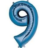 34'' 9 Blue Number Shape Balloon