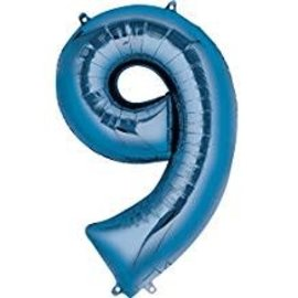 34'' 9 Blue Number Shape Balloon