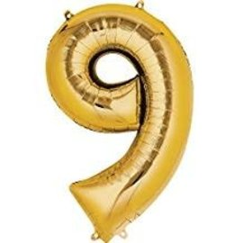 34'' 9 Gold Number Shape Balloon