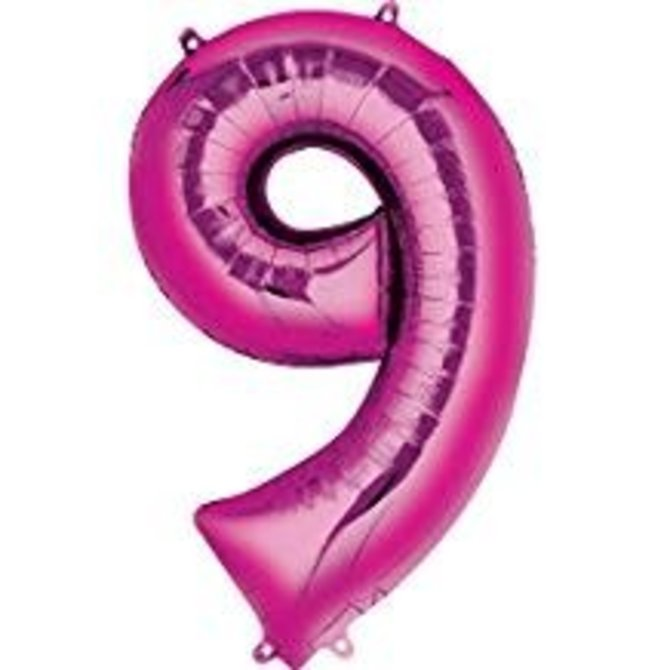 34'' 9 Pink Number Shape Balloon