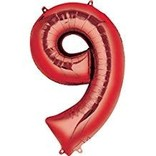 34'' 9 Red Number Shape Balloon