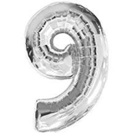 34'' 9 Silver Number Shape Balloon