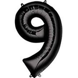 34'' 9 Black Number Shape Balloon