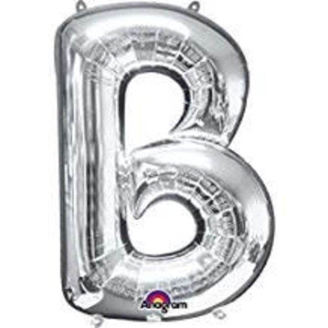 "34"" Letter B Shape Foil Balloon- Silver"
