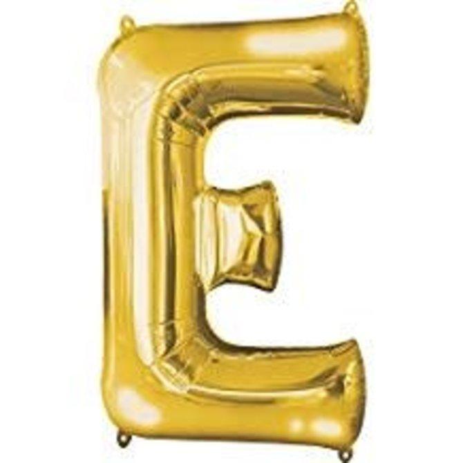 """34"""" Letter E Shape Foil Balloon- Gold"""
