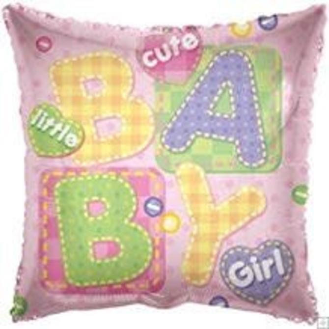 "Baby Girl Square Balloon, 18"""