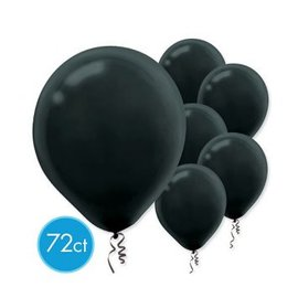 "Jet Black Solid Color 12"" Latex Balloons-Packaged,  72ct"