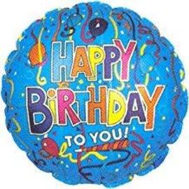 "Blue Happy Birthday to You Balloon, 18"""
